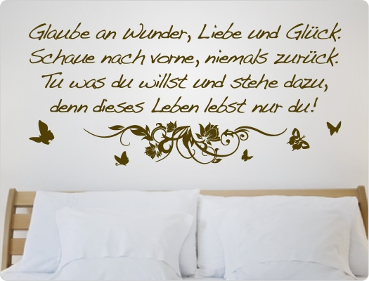 wandtattoo spr che glaube an wunder liebe und gl ck 269 ebay. Black Bedroom Furniture Sets. Home Design Ideas